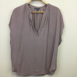 Vince Silk V Neck Pink Print Sleeveless Blouse - L